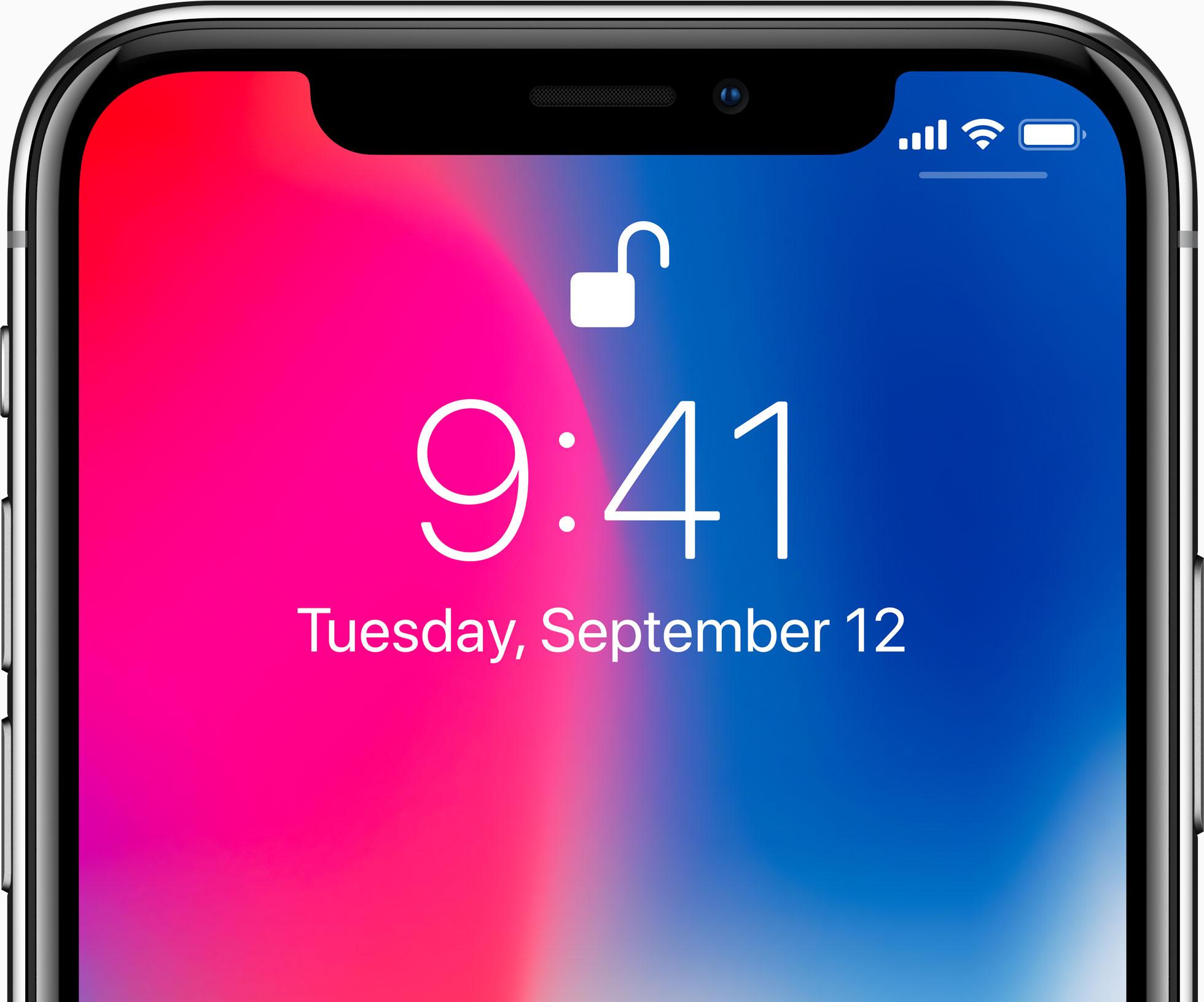 iPhone X de frente desbloqueado pelo Face ID