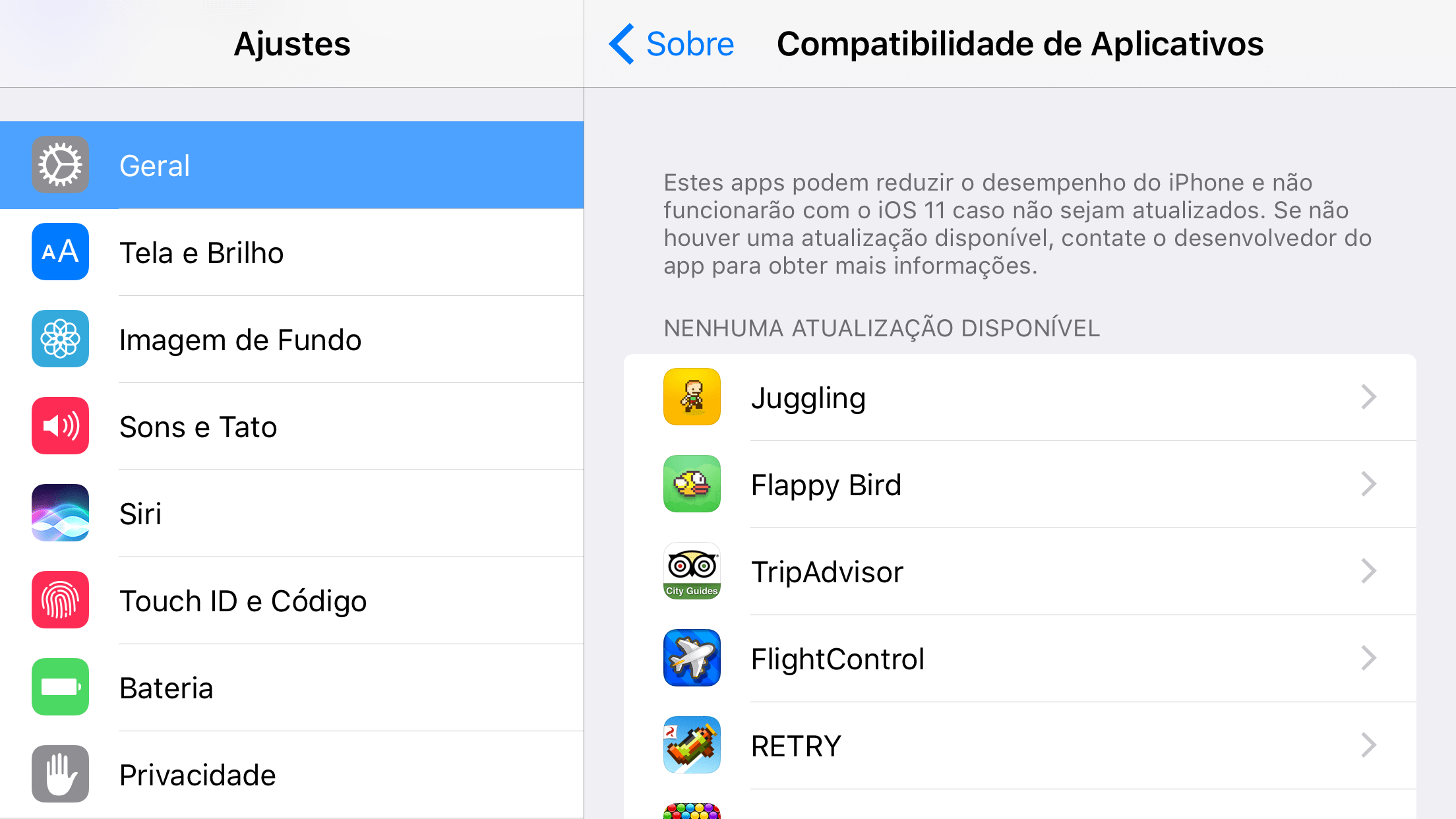Apps de 32 bits perdendo compatibilidade no iOS 11