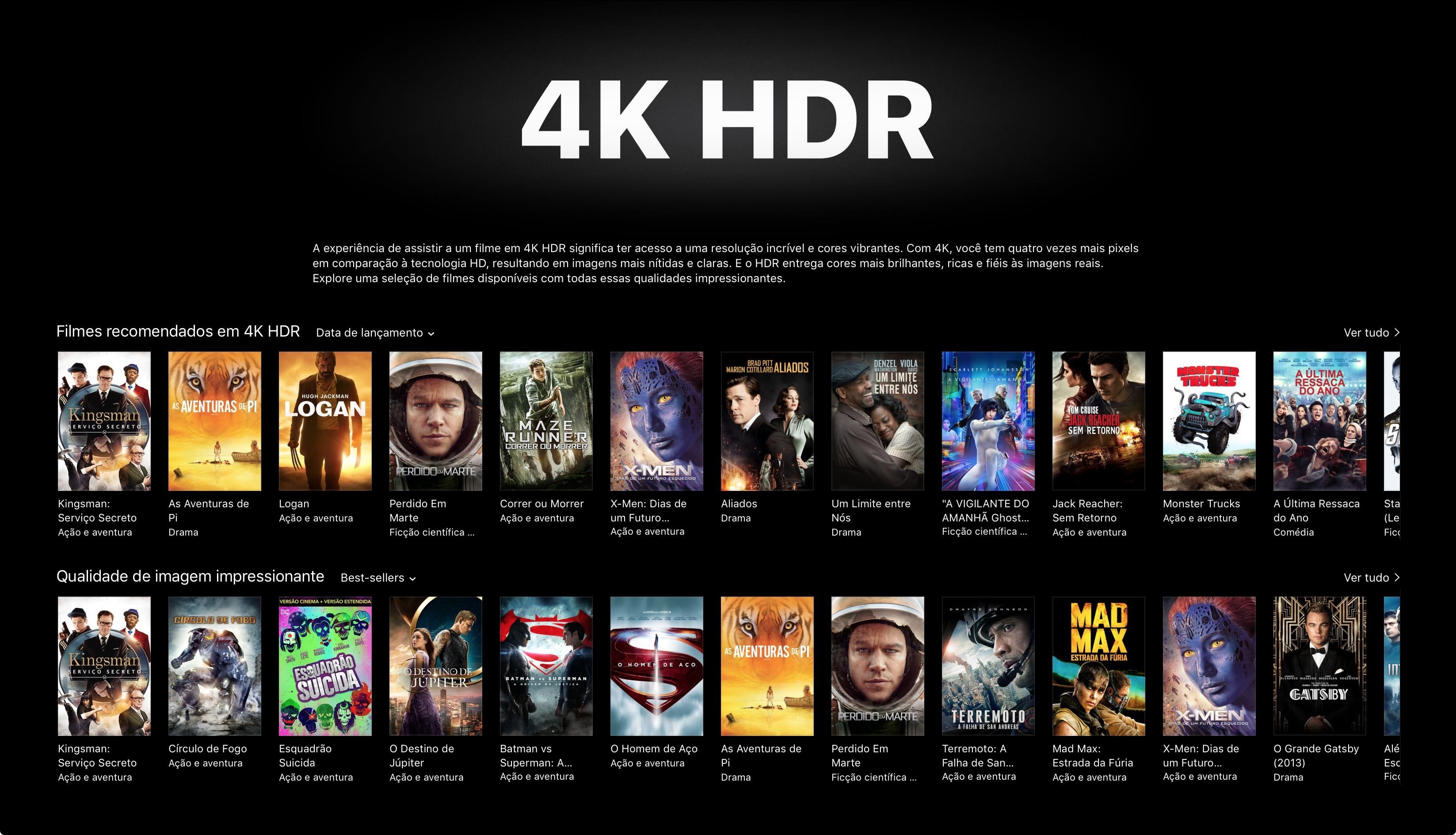 Conteúdo em 4K na iTunes Store