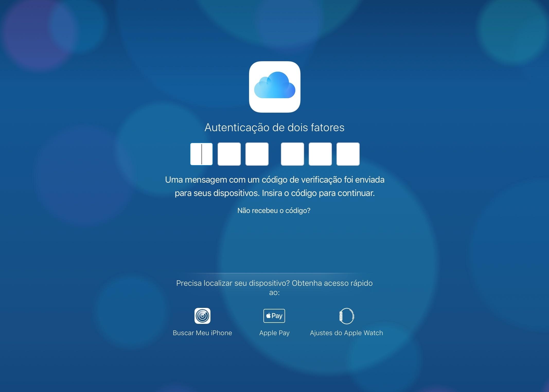 Autenticação de dois fatores no site do iCloud