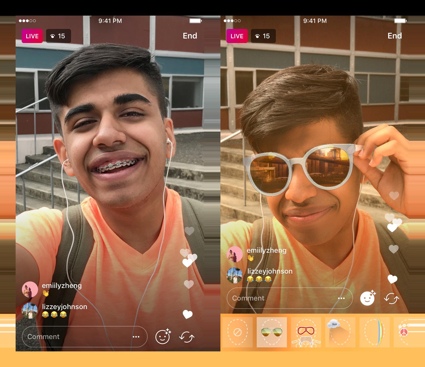 Novo recurso de filtros faciais ao vivo do Instagram