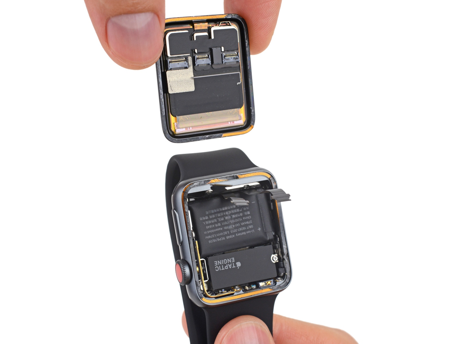 Desmontagem feita pela iFixit do Apple Watch Series 3 (GPS + Cellular)