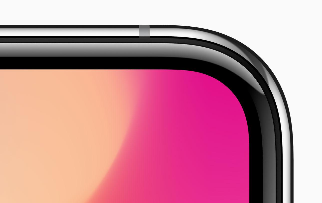 Detalhe da tela e dos cantos curvos do iPhone X