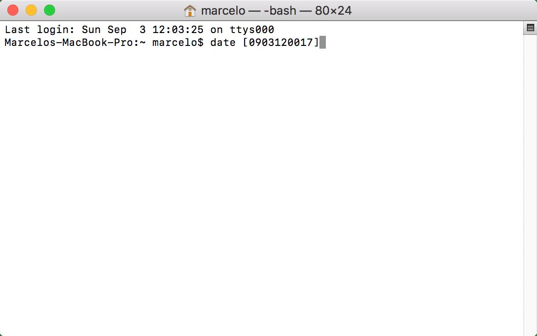 Alteração de Data - Terminal