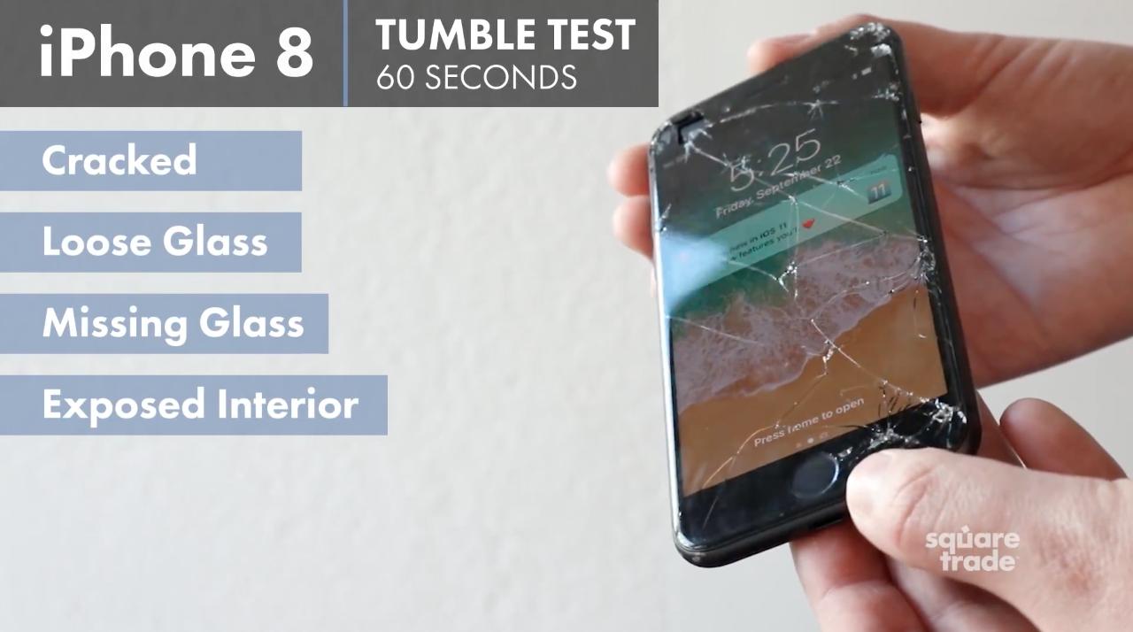 Teste de durabilidade do iPhone 8, da SquareTrade