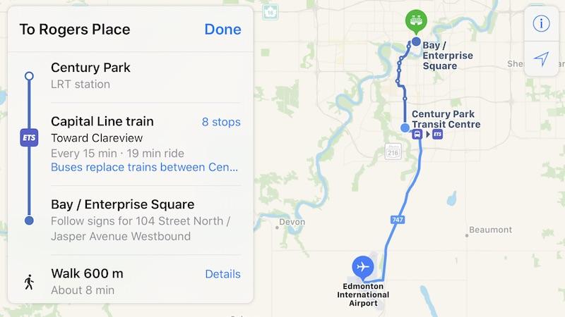 Apple Mapas Transporte Edmonton