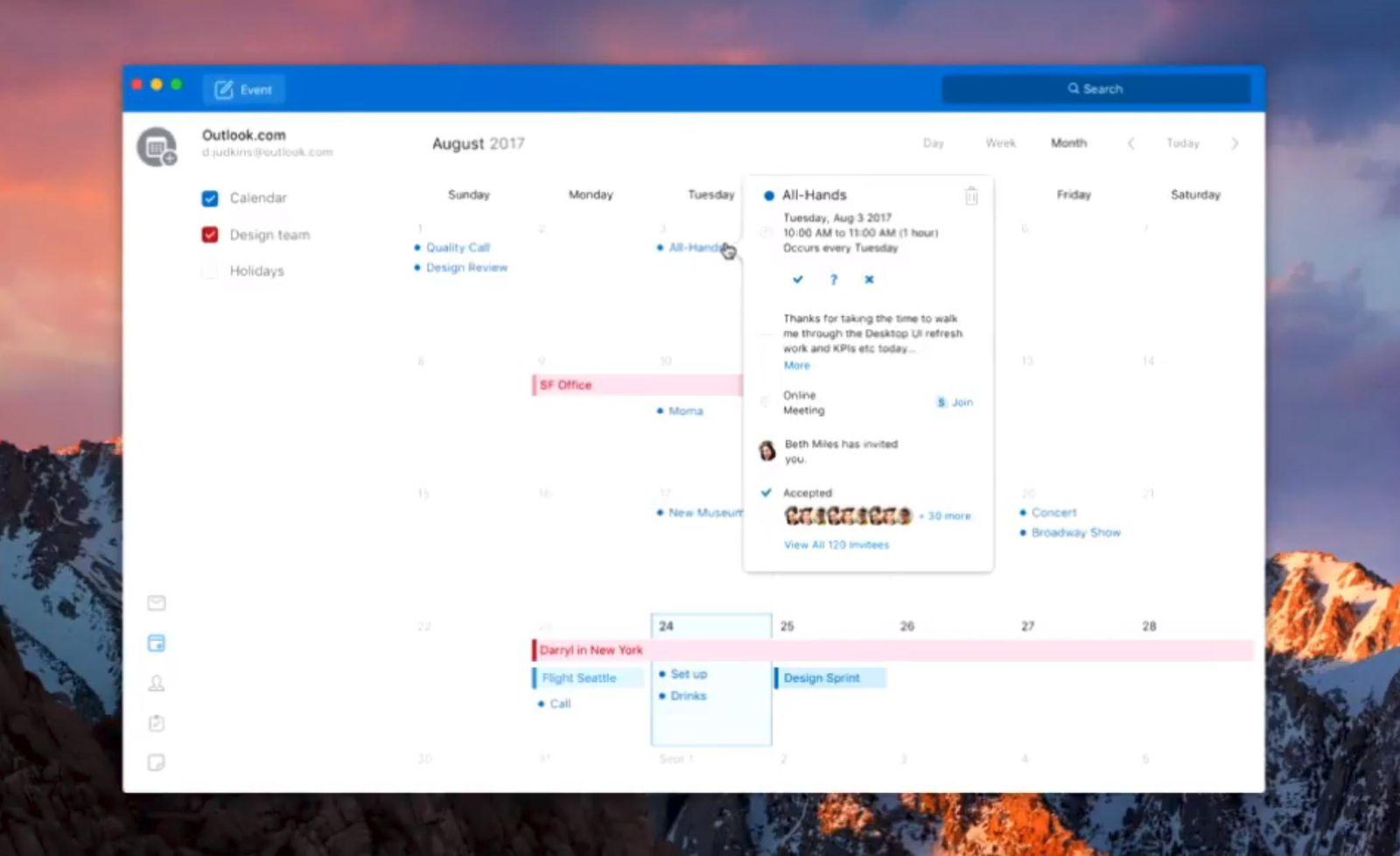 Redesign do Outlook para Mac