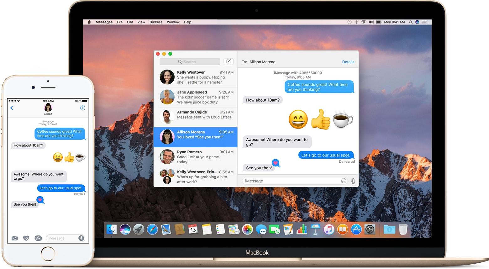 Mensagens no iPhone e no Mac