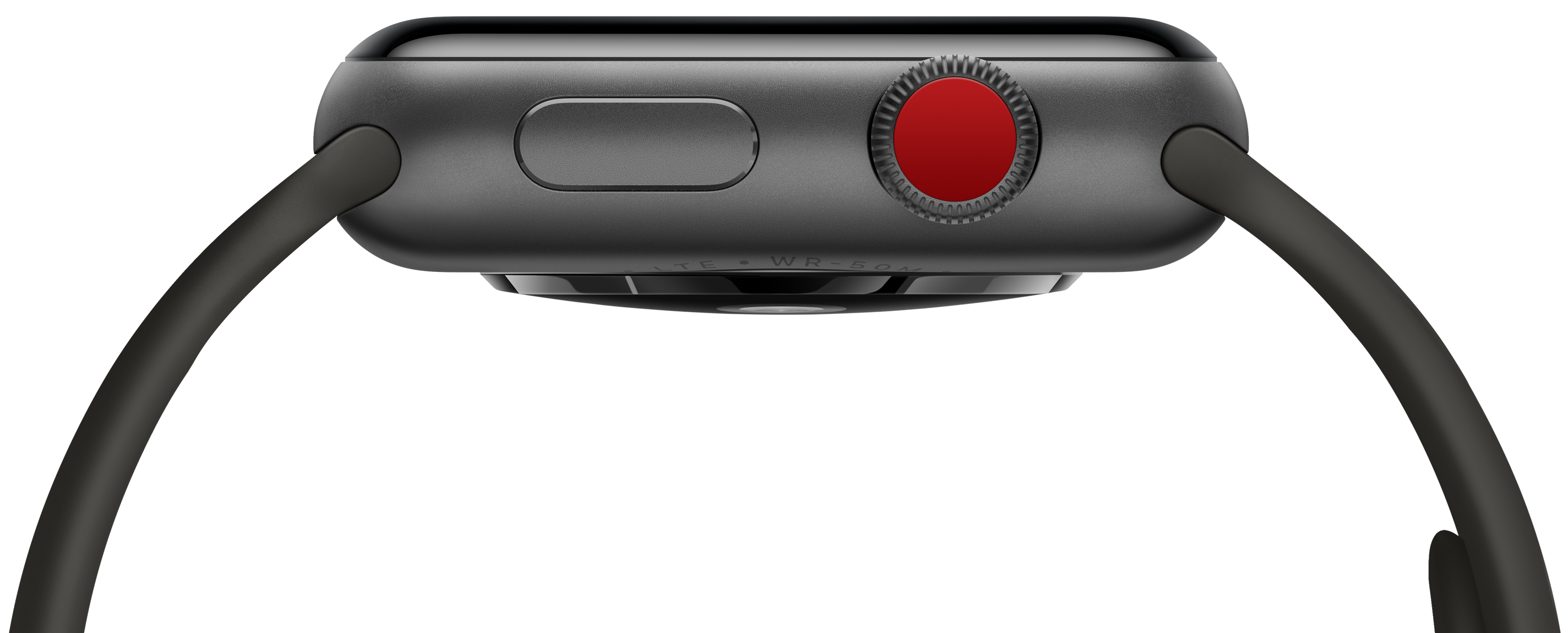 Apple Watch Series 3 (GPS + Cellular) com a Digital Crown vermelha destacada