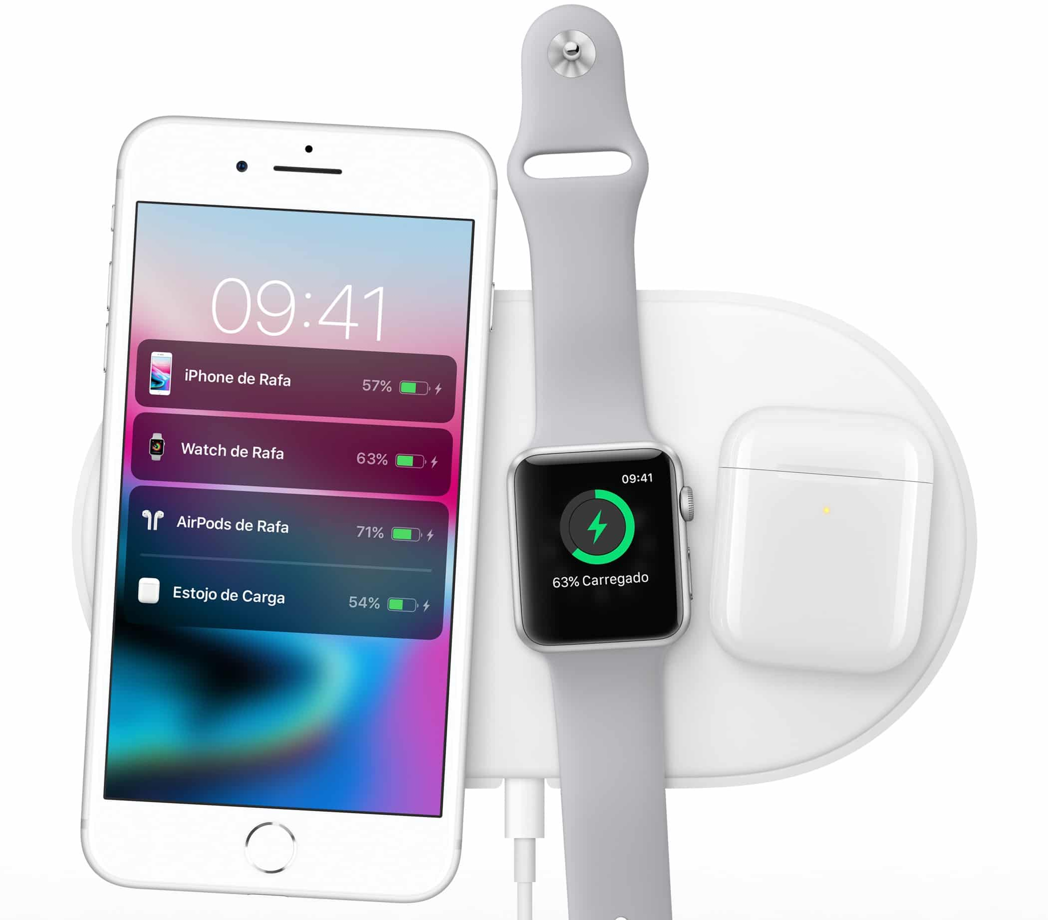 Base de recarga AirPower com iPhone 8 Plus, o Apple Watch Series 3 e o AirPods