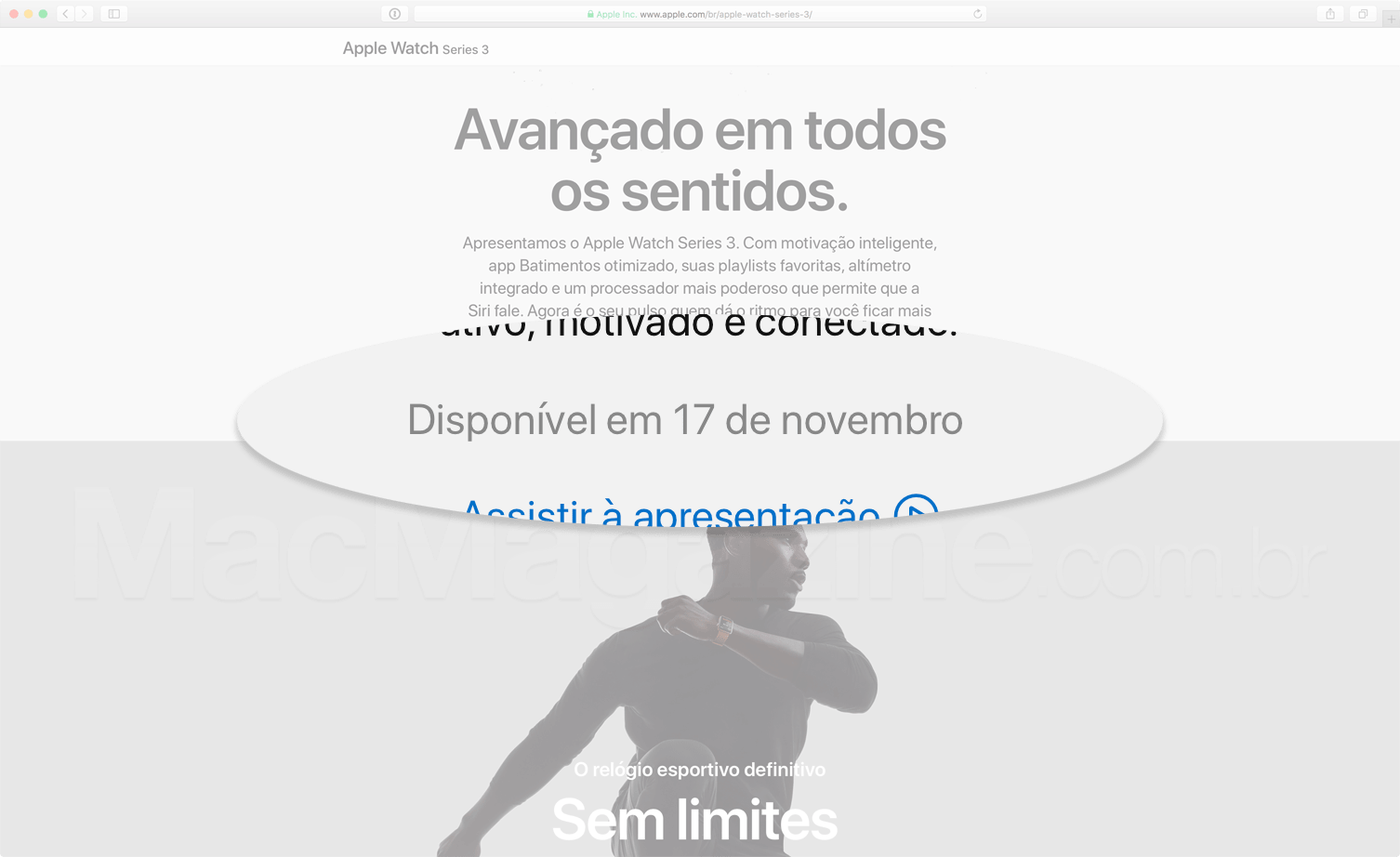 Data do Apple Watch Series 3 no Brasil