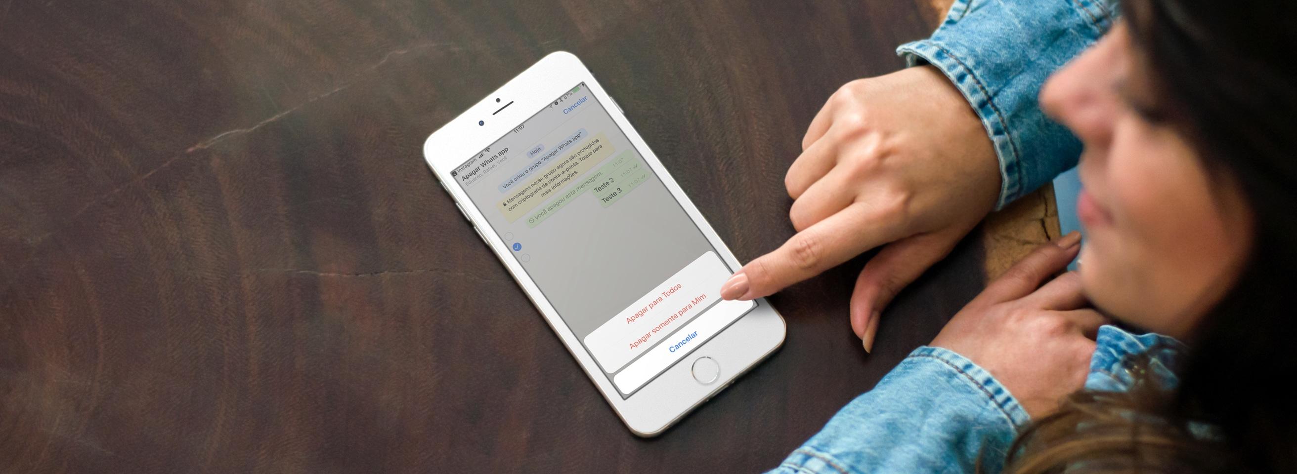 Apagando mensagens para todos no WhatsApp