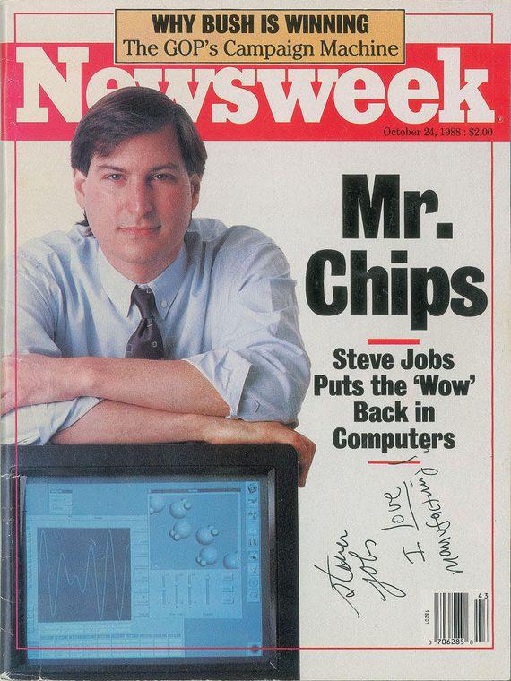 Steve Jobs autógrafo Newsweek