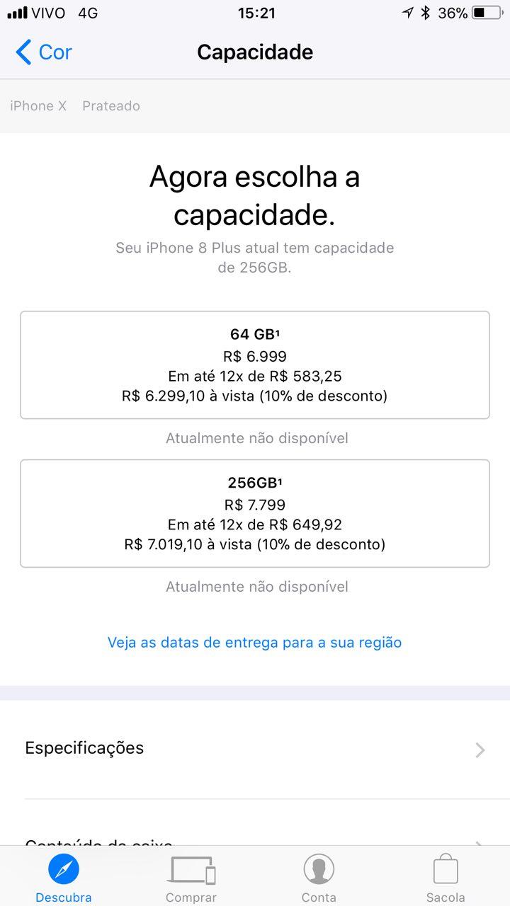 Preços do iPhone X no Brasil, segundo o app Apple Store