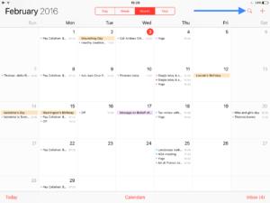Calendário rodando no iOS 11 do iPad