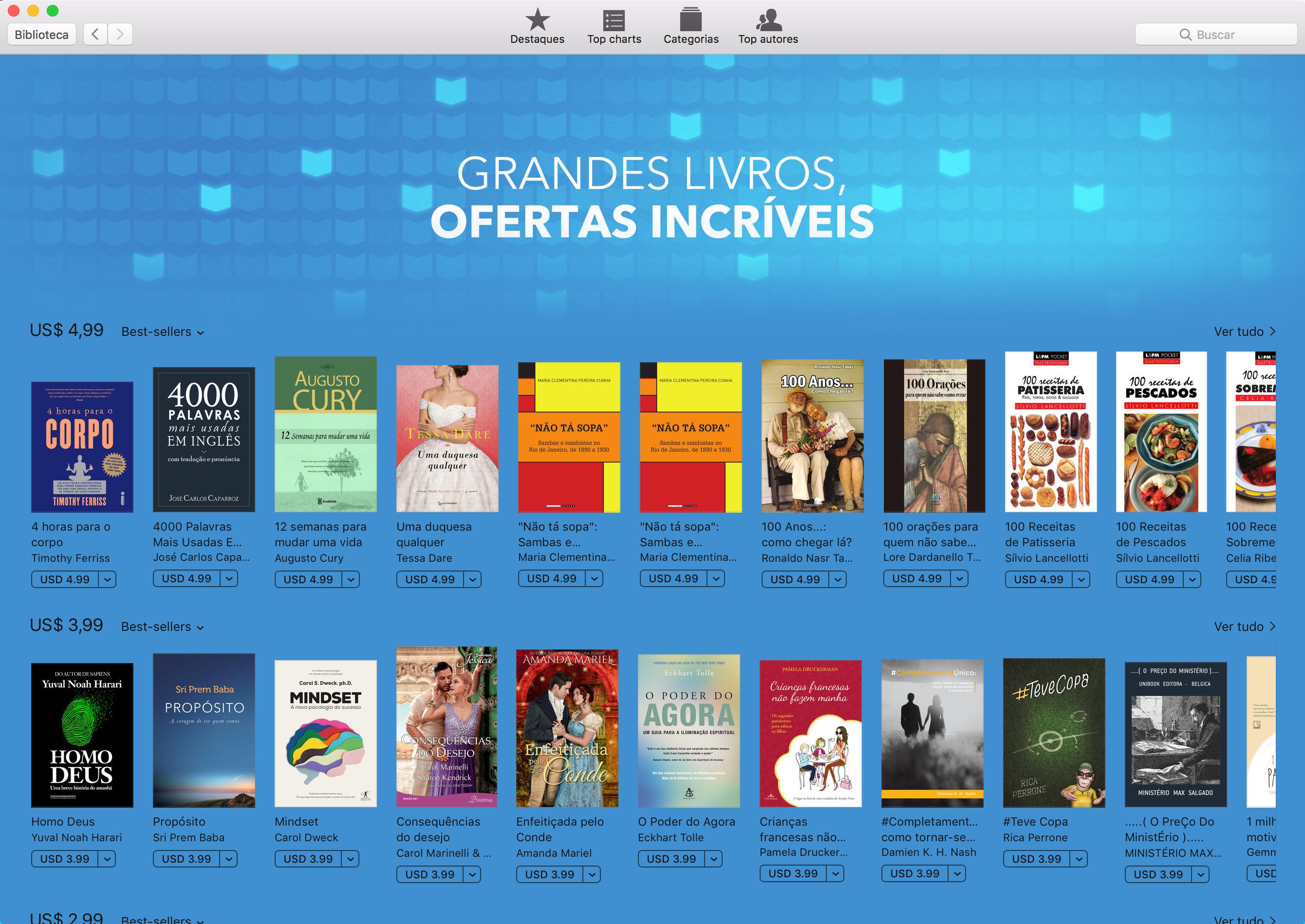 Grandes livros, ofertas incríveis na iBooks Store