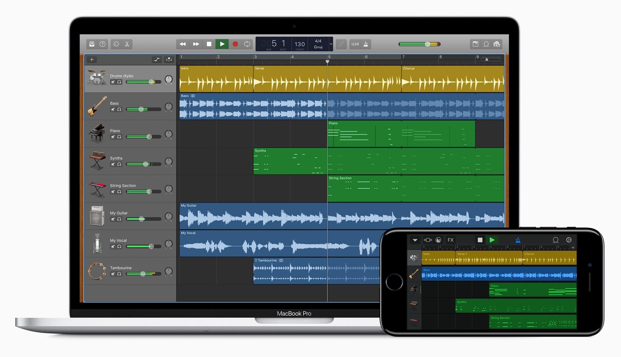 App GarageBand no macOS e no iOS