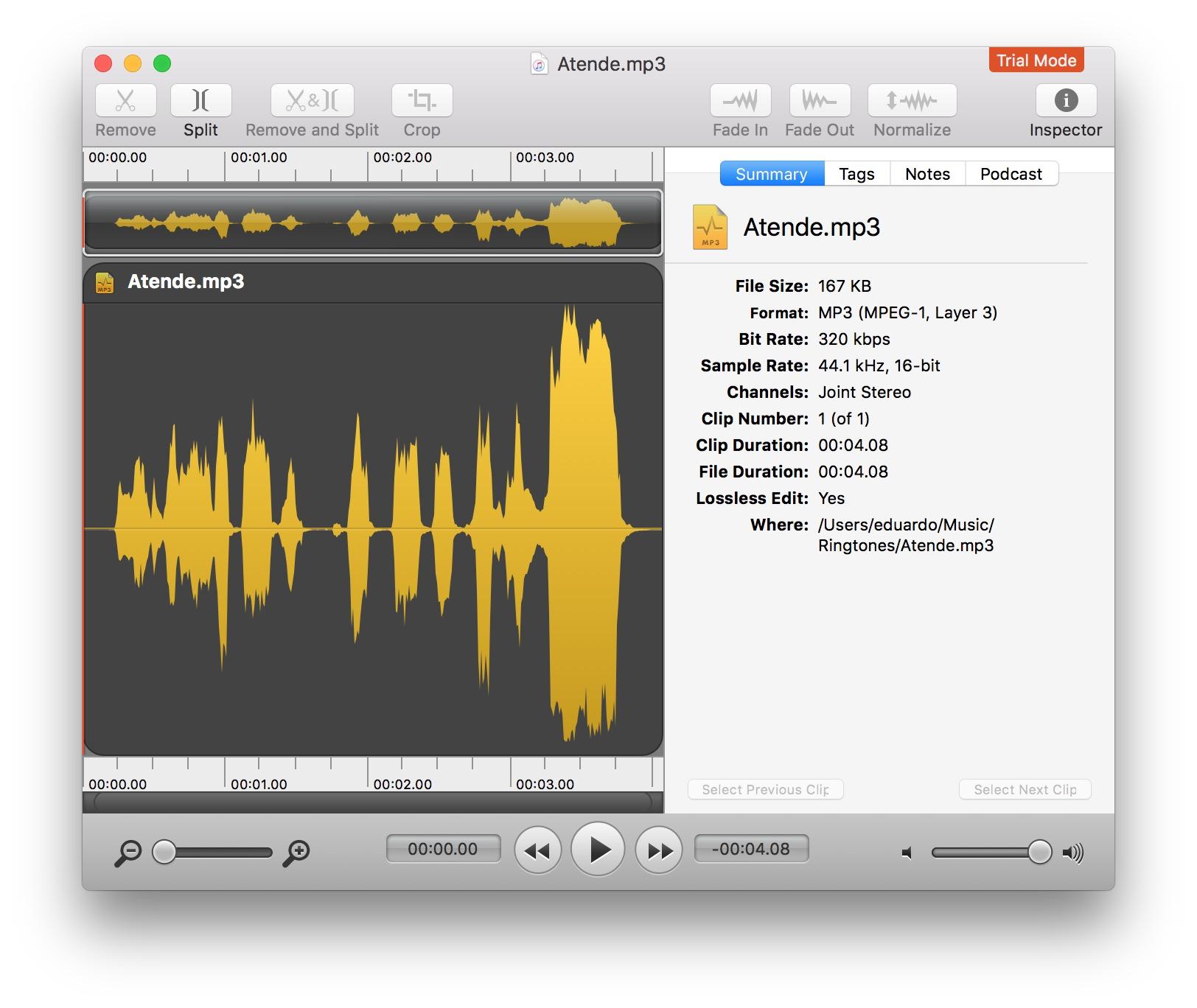 Criando um toque com o app Fission para macOS