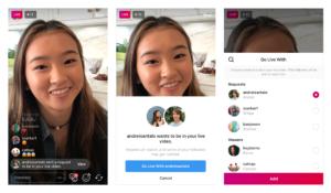 Convite para participar de uma live no Instagram
