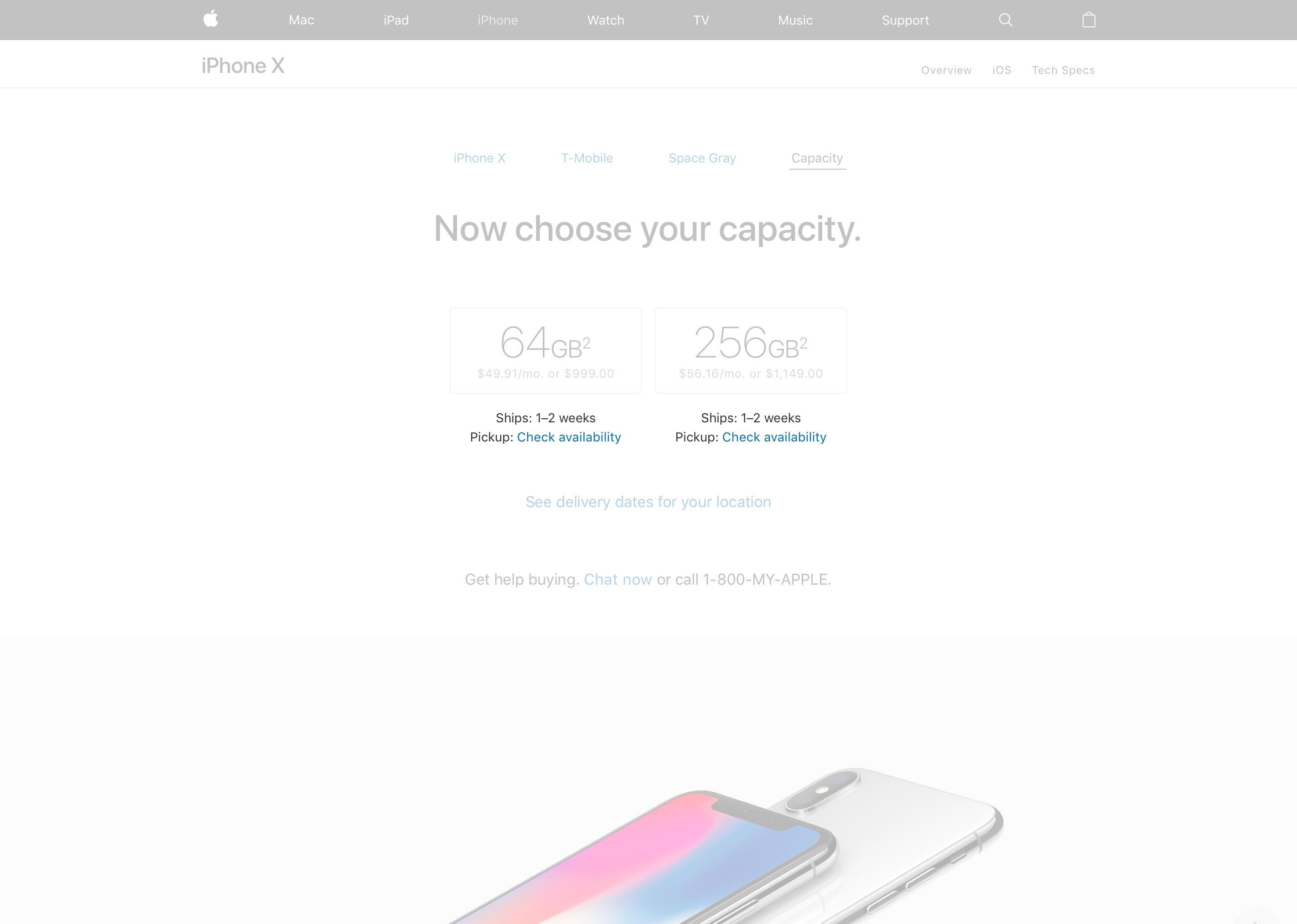 Estoque do iPhone X nos EUA