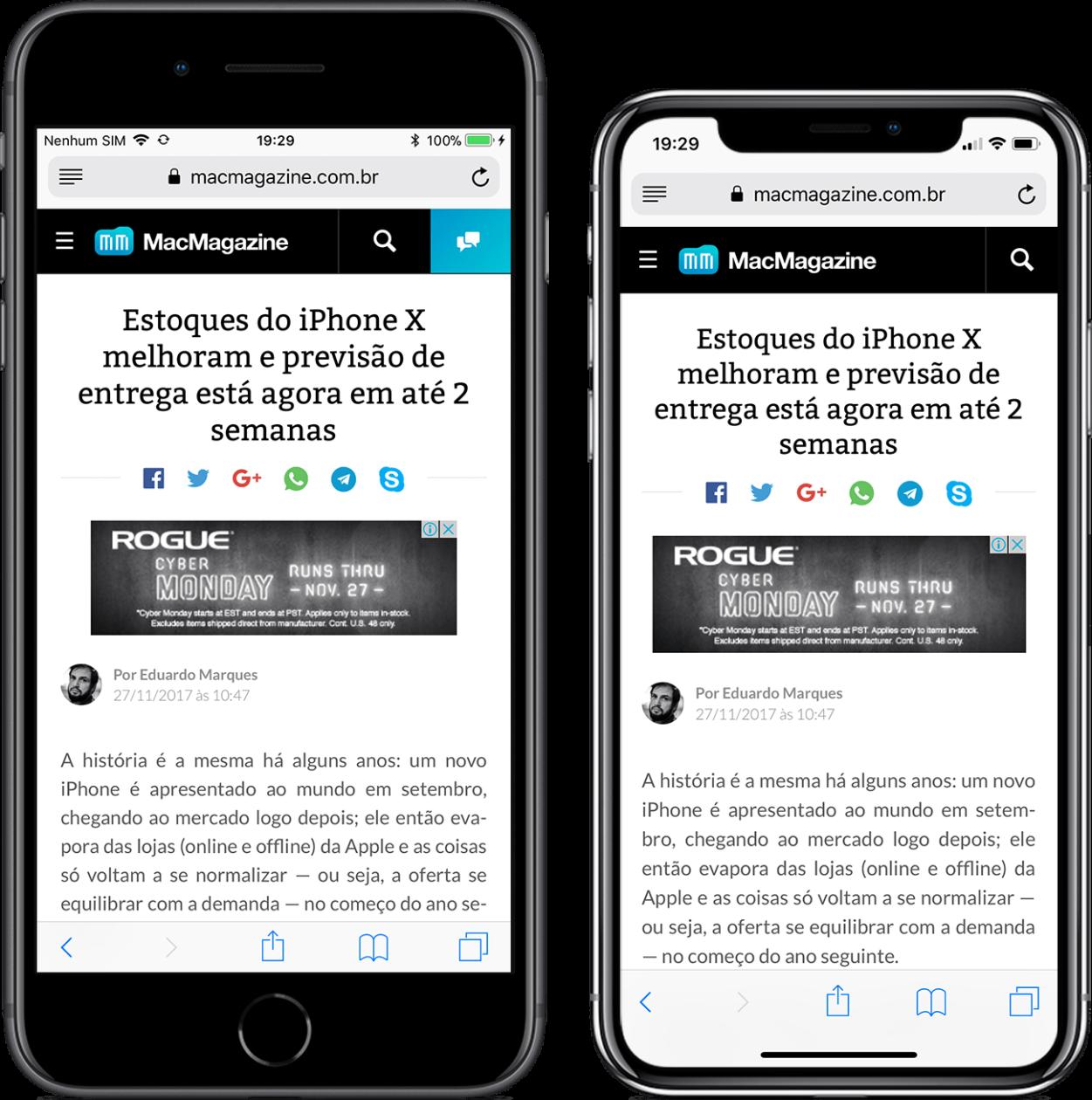Comparativo: como ficam diversos apps na tela do iPhone X e na do iPhone 8 Plus | MacMagazine.com.br