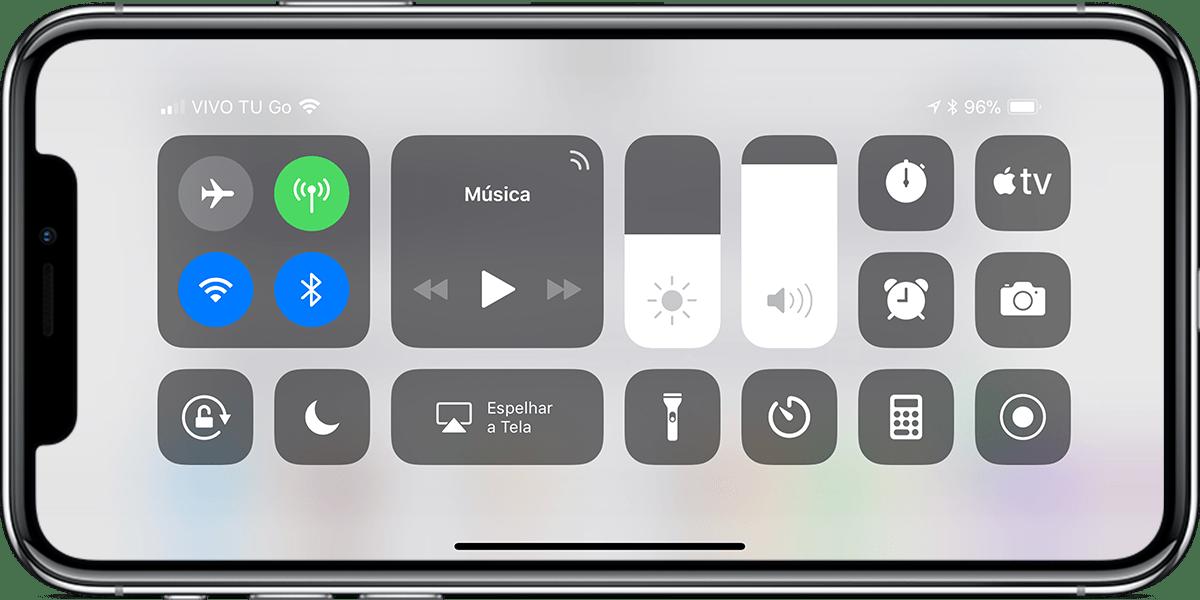 Central de Controle na horizontal no iPhone X