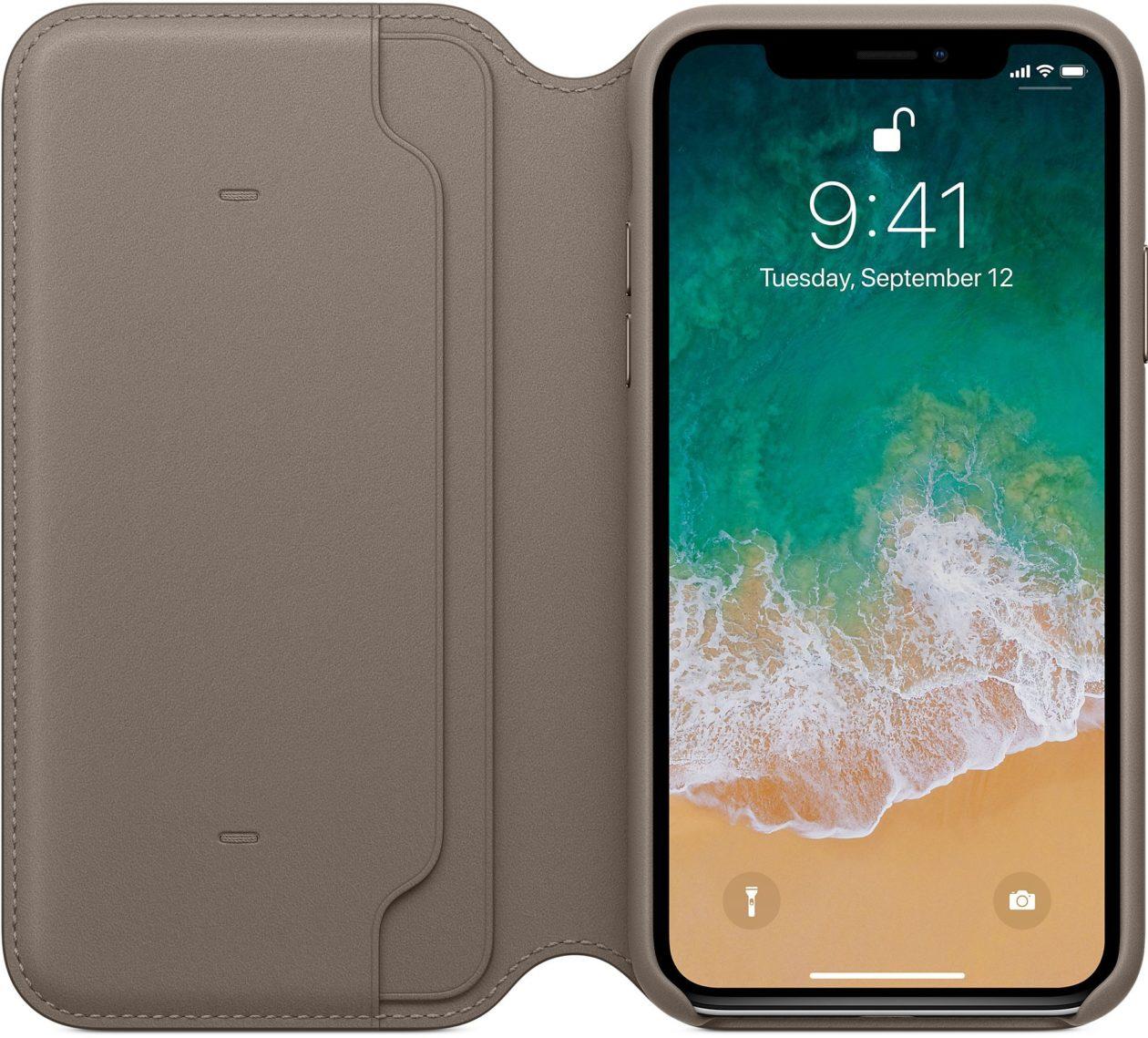 Case Folio do iPhone X de frente, aberta
