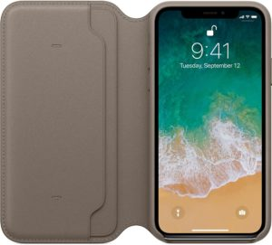 Case Folio do iPhone X de frente, aberta