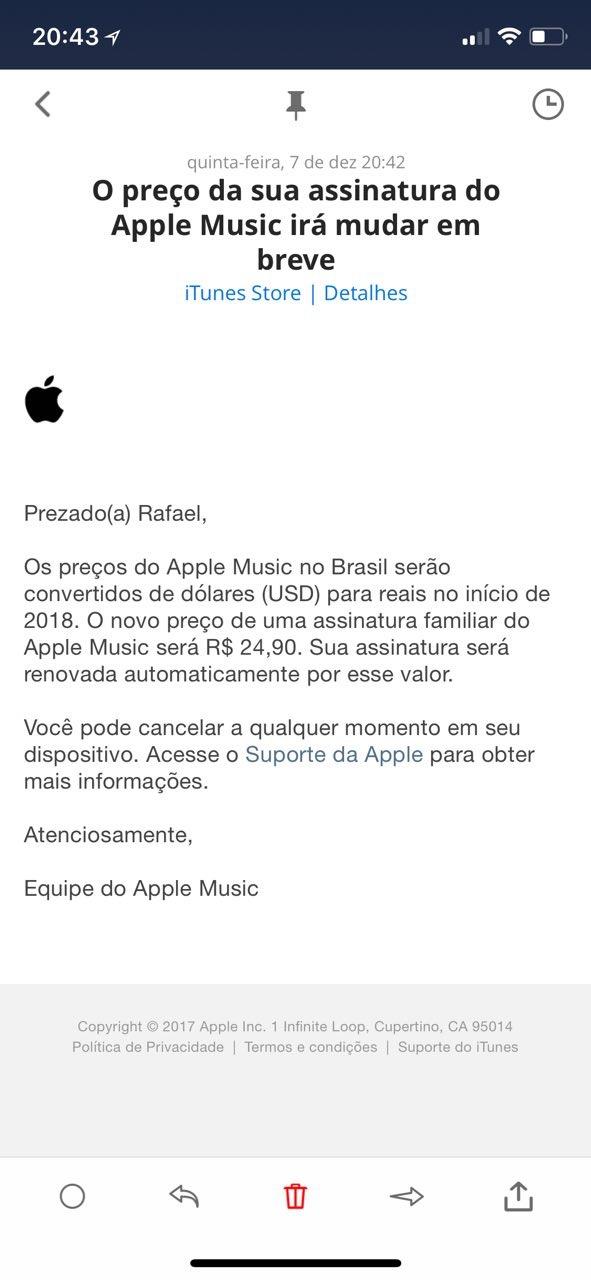 Preço do plano família do Apple Music