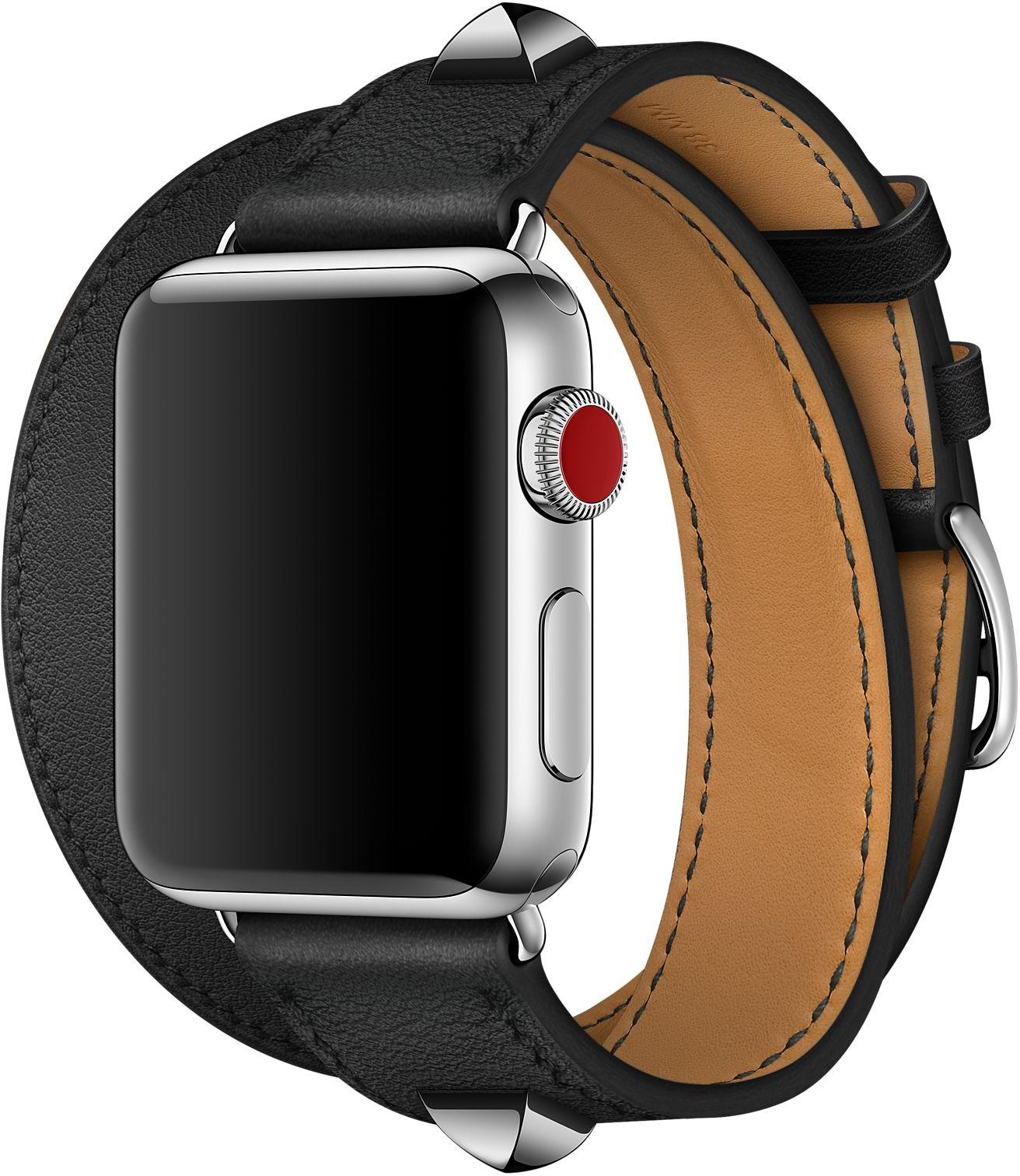 Apple Watch Hermès - 38mm Noir Swift Leather Double Tour Médor