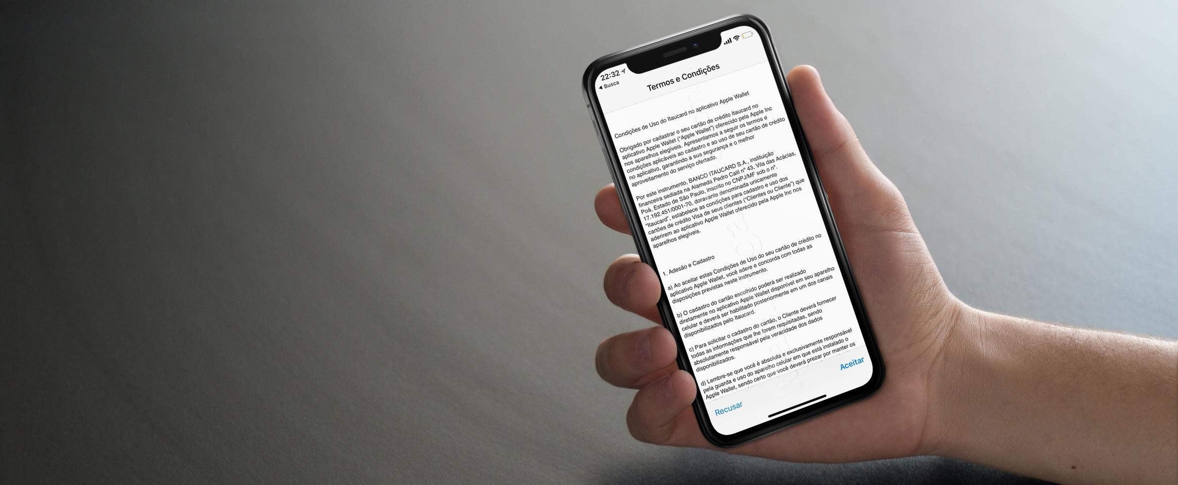Termos do Itaú/Apple Pay Brasil