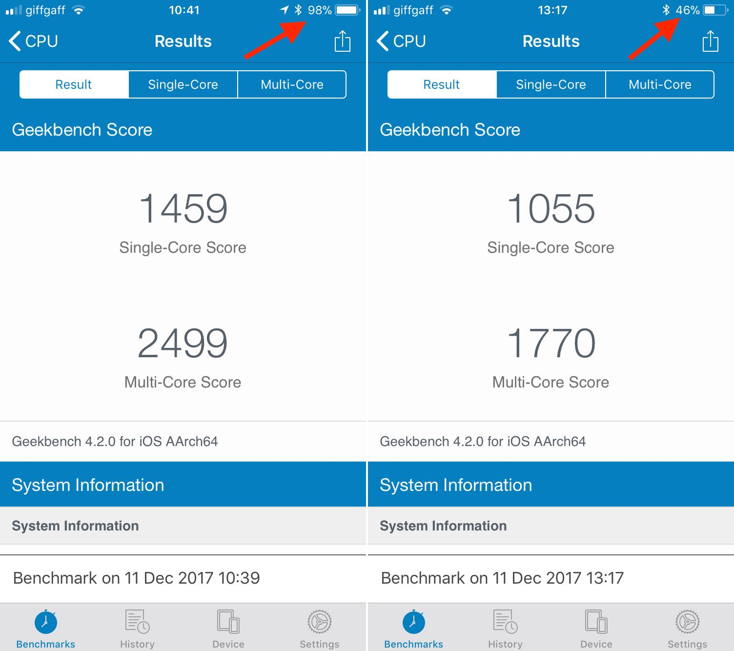 iPhone 6s Geekbench bateria