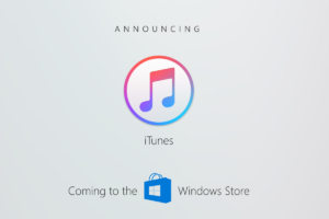 Anúncio do iTunes na Windows Store