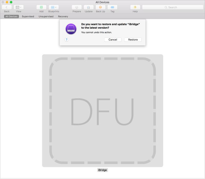 Apple Configurator 2 usado para reiniciar um iMac Pro congelado