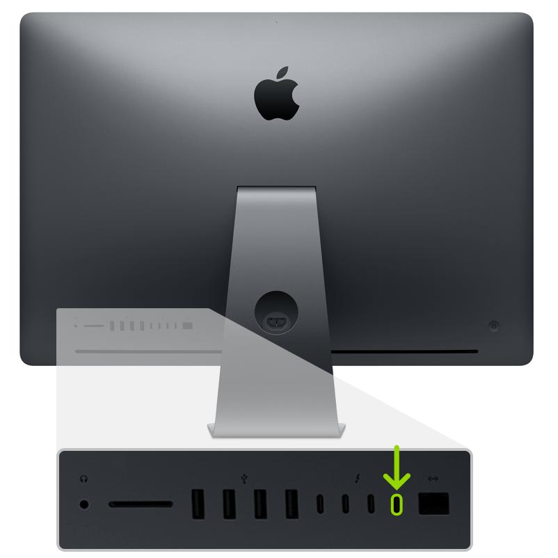 Porta Thunderbolt ao lado da Ethernet, no iMac Pro