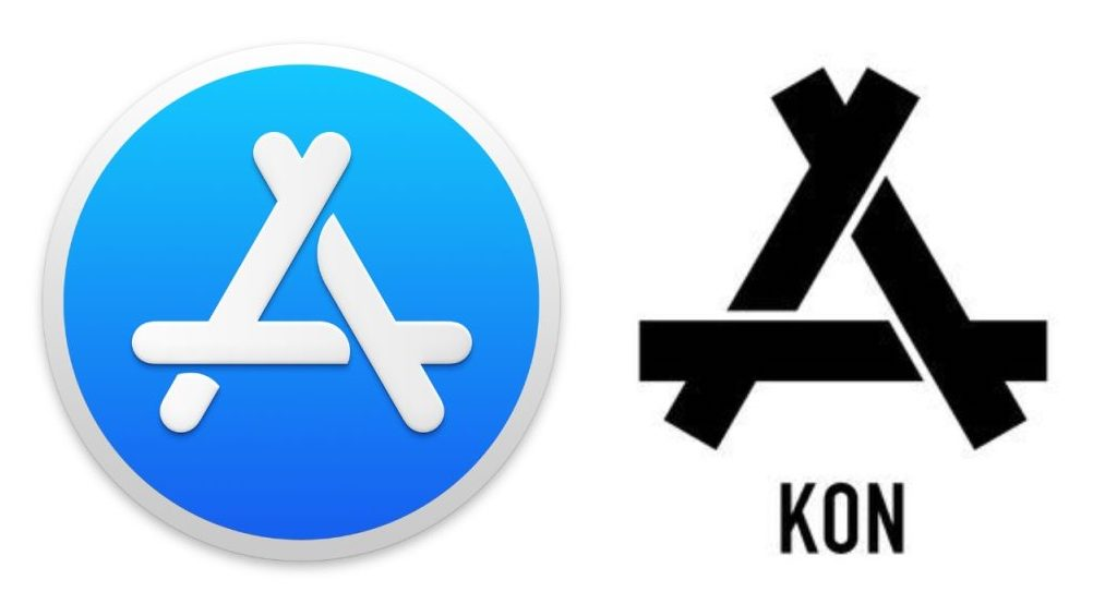 Semelhança entre o ícone da App Store e o logo da marca de roupas chinesa Kon
