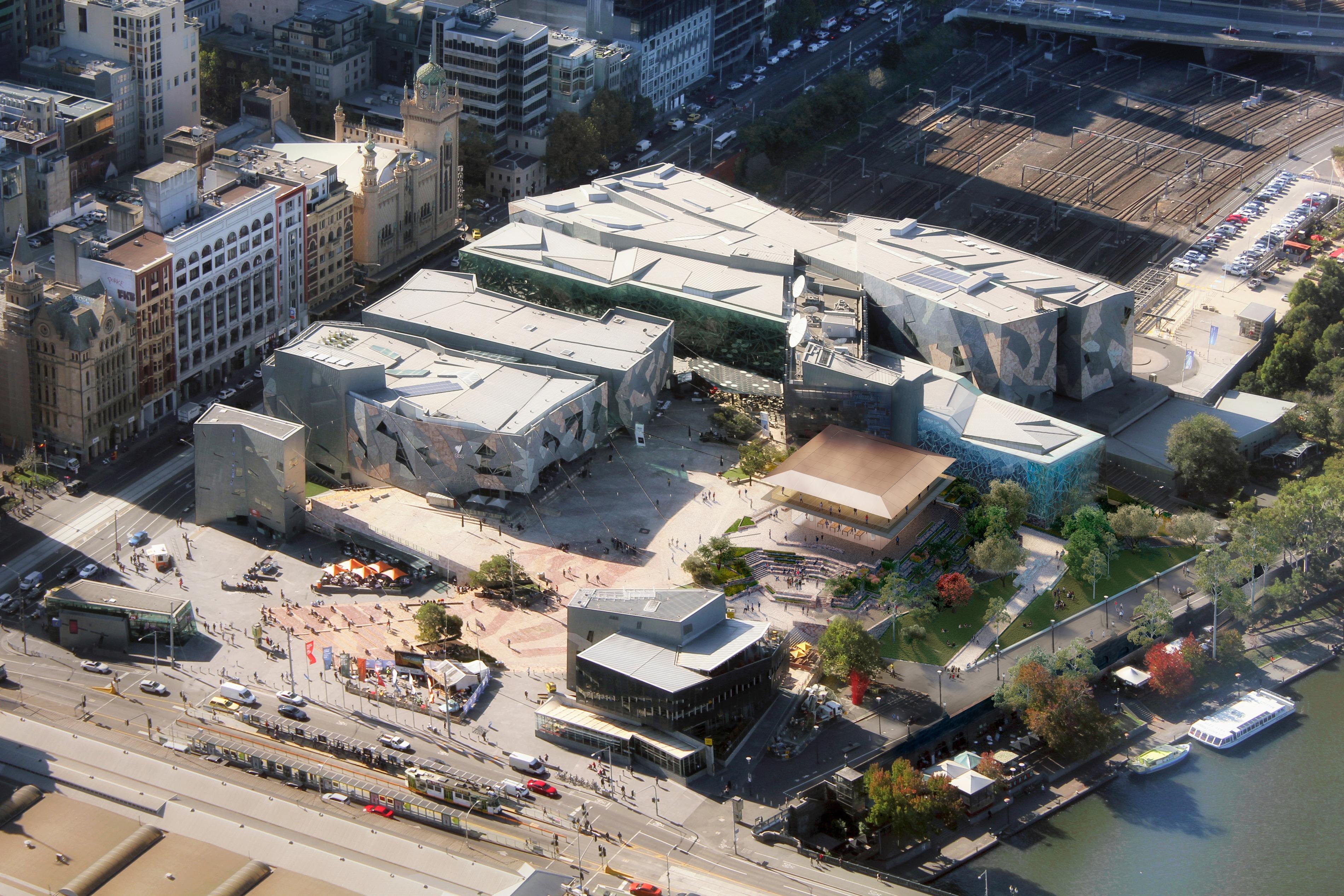 Imagem aérea de como é hoje a Federation Square, com o render da loja no lugar