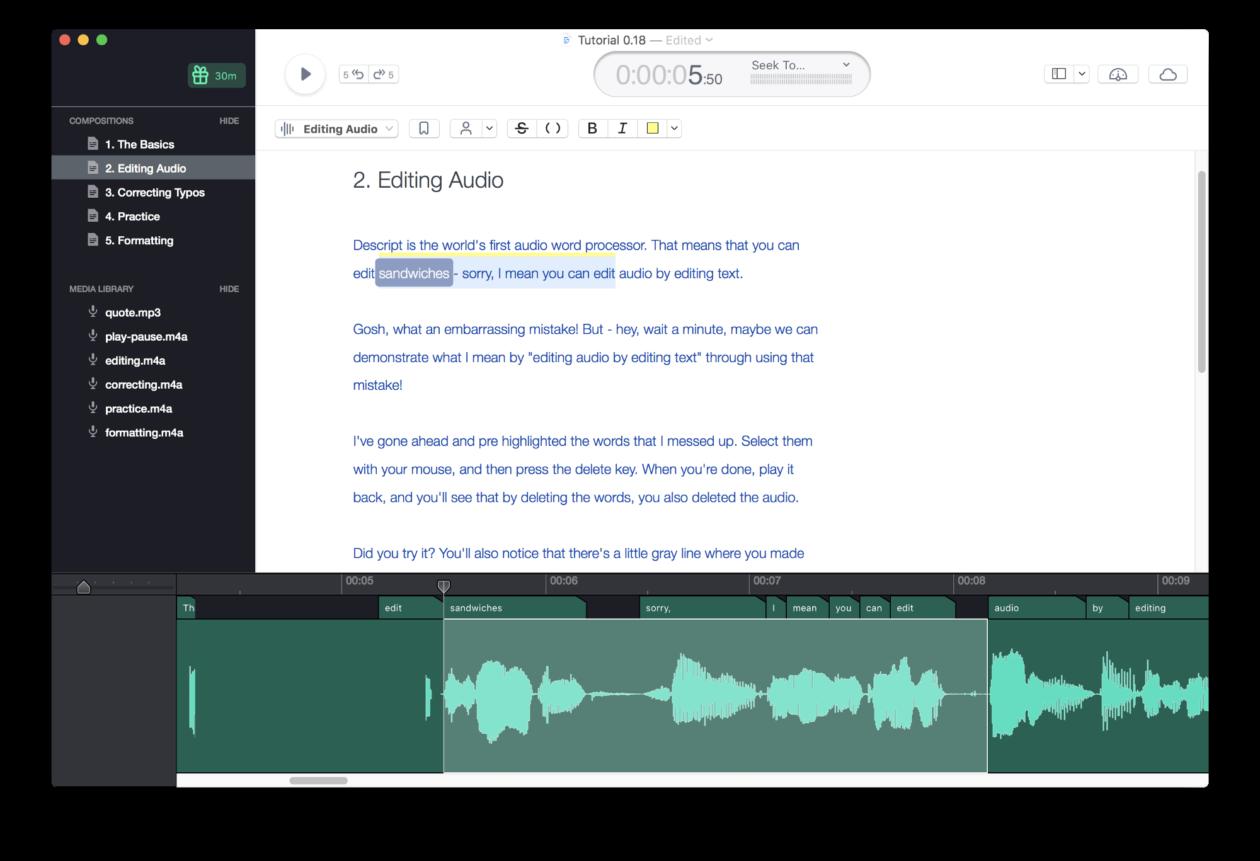 Novo aplicativo Descript, para Mac, torna a edição de arquivos de áudio assustadoramente simples