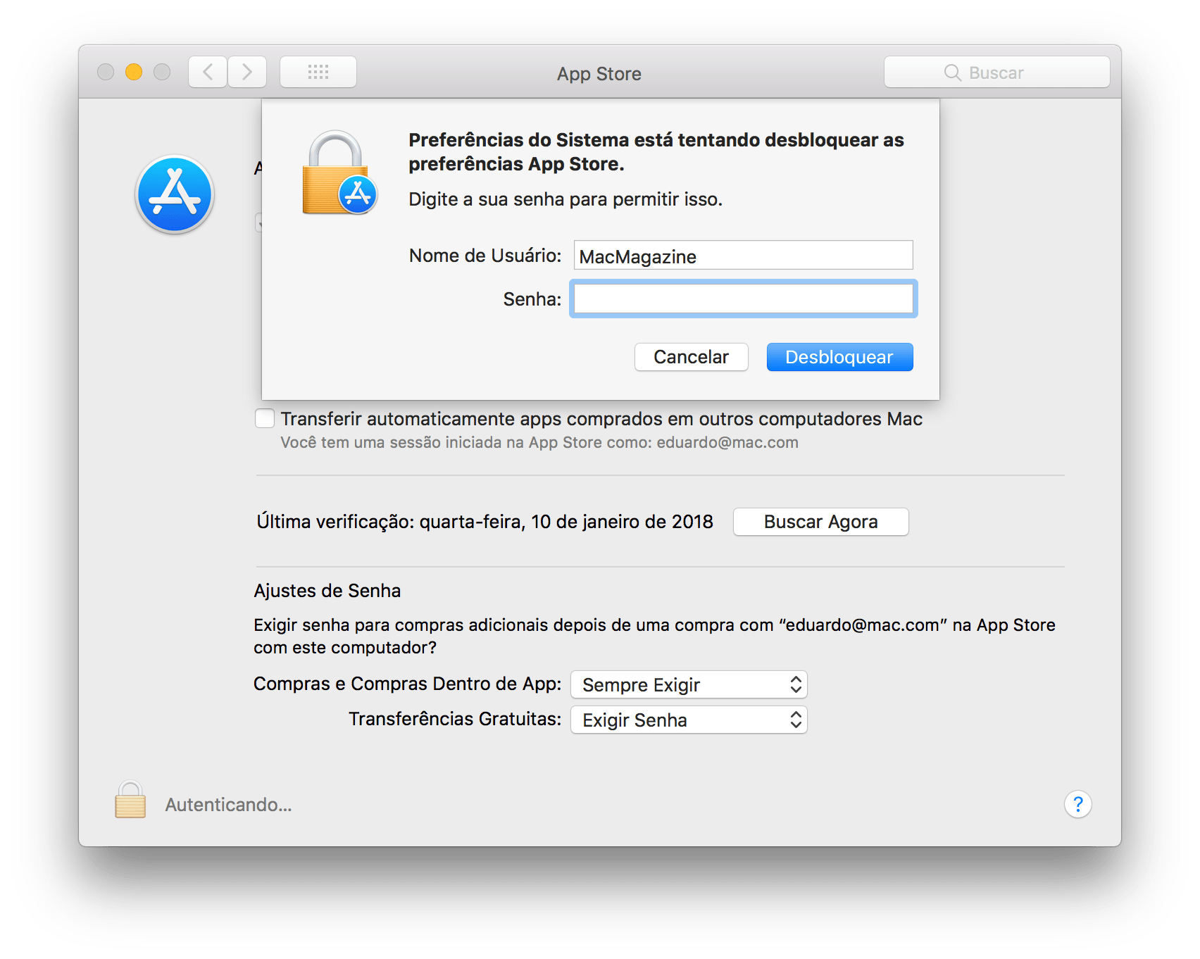 Preferências da Mac App Store no macOS High Sierra