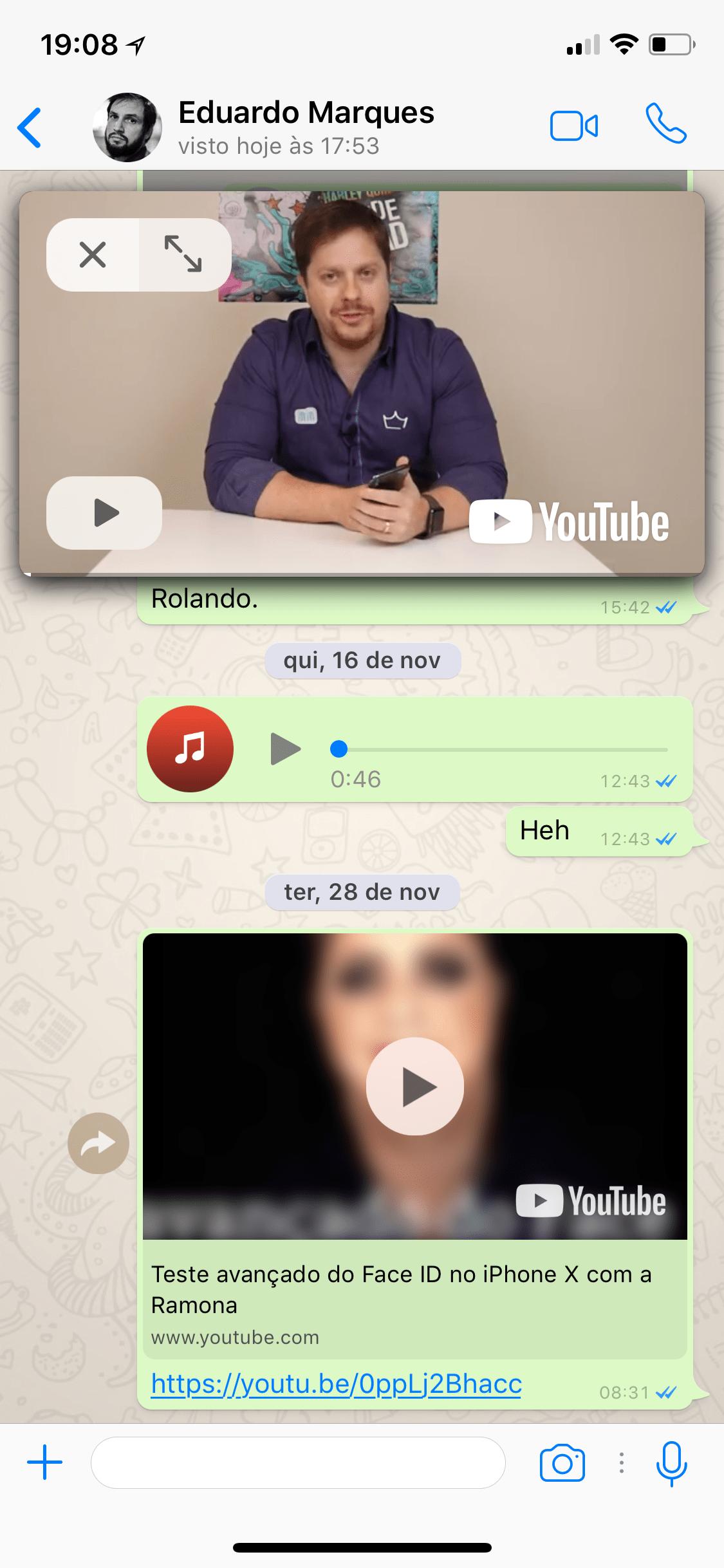 YouTube dentro do WhatsApp