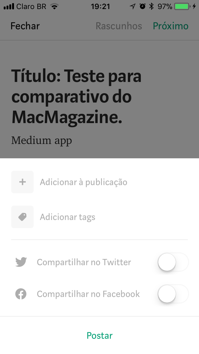 Aplicativo Medium par iOS