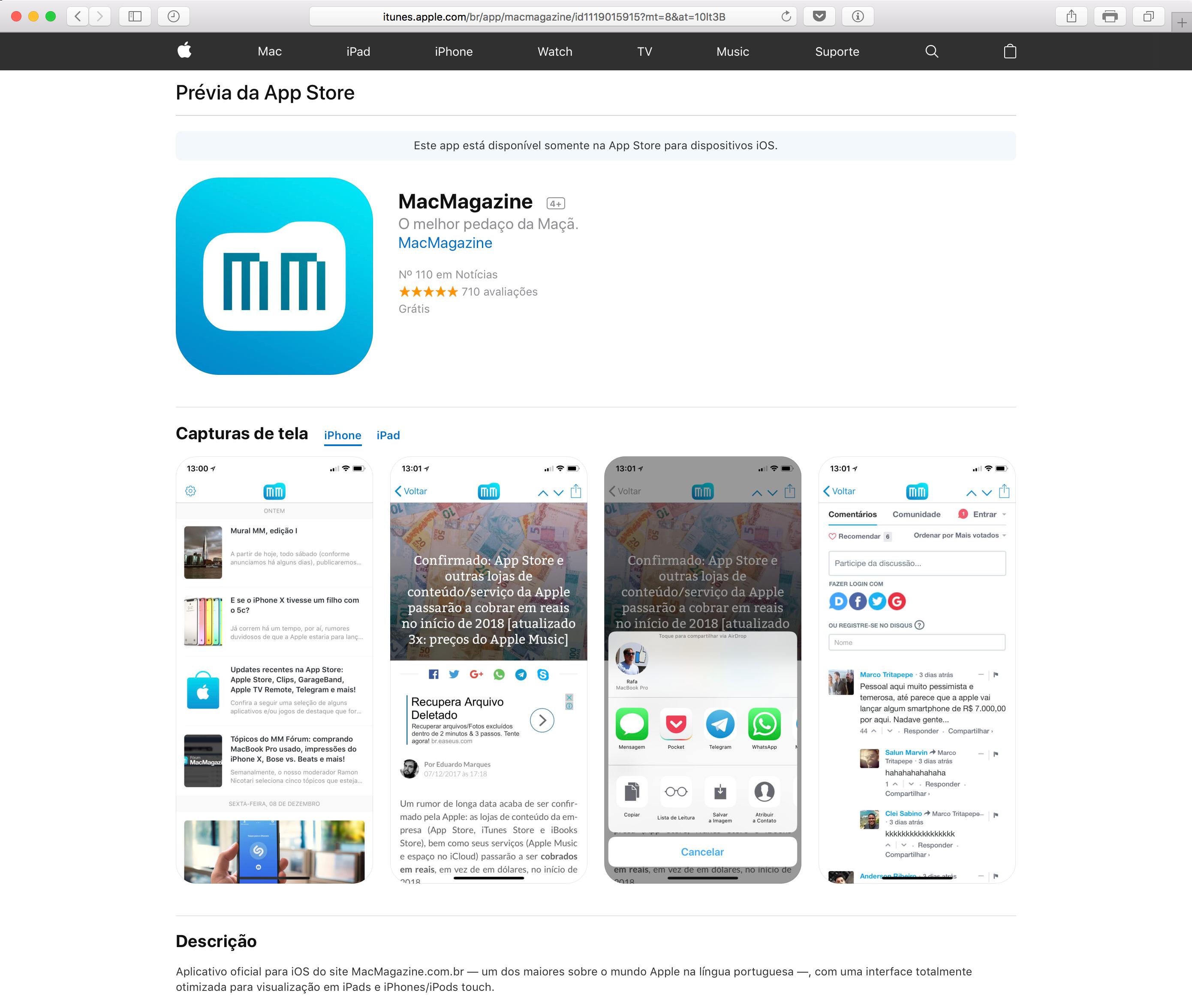 Prévia da App Store - MacMagazine