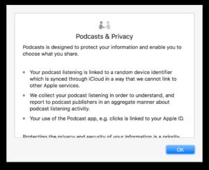 """Alerta sobre privacidade no app """"Podcast"""" para macOS"""