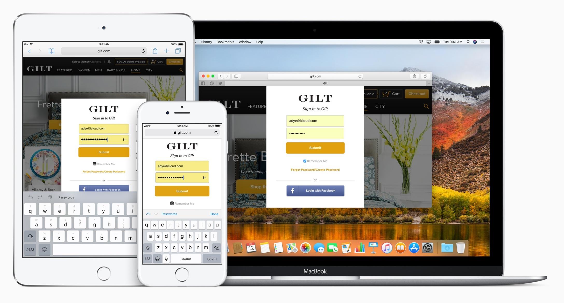 Chaves do iCloud no Safari