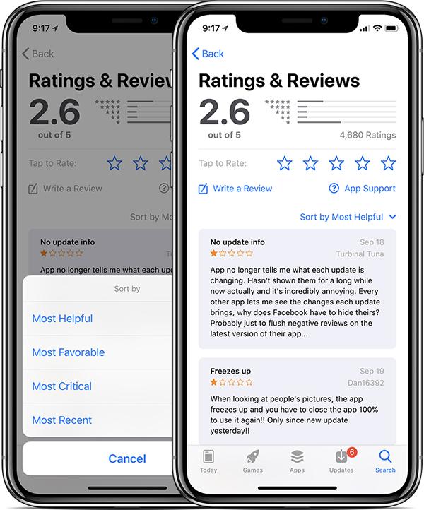 Reviews de apps no iOS 11.3