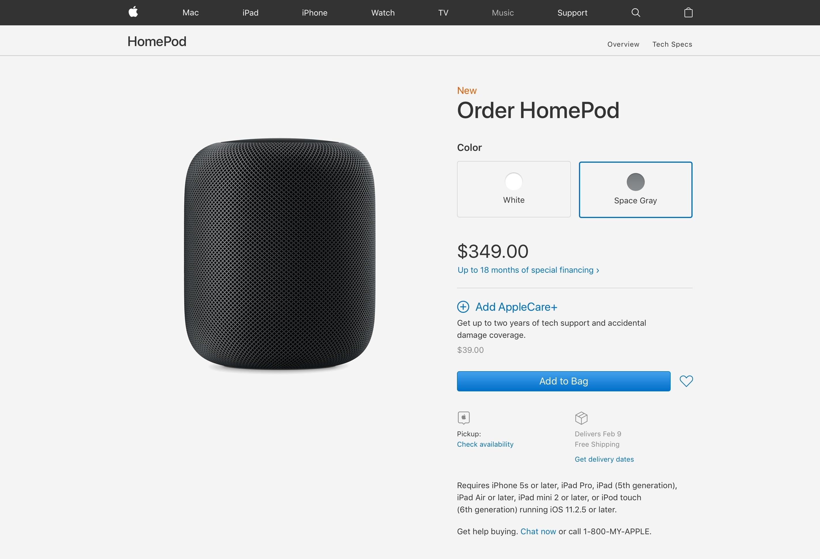 Comprando o HomePod pelo site da Apple