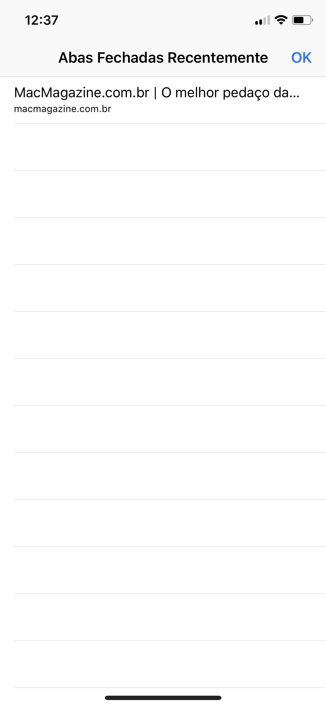 Abas encerradas recentemente no Safari para iOS