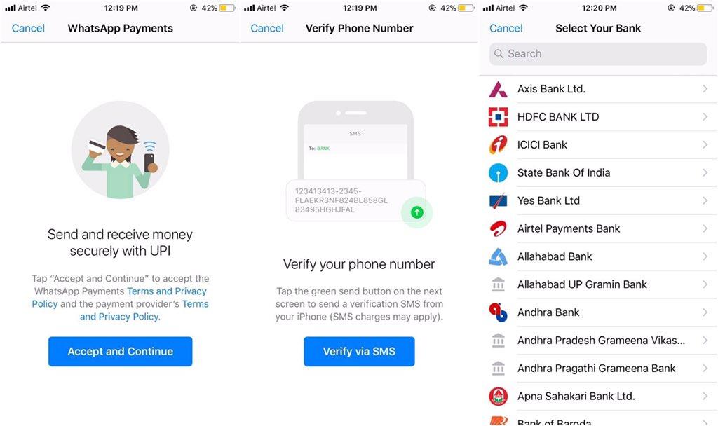 Transferência de dinheiro entre usuários no WhatsApp (na Índia)