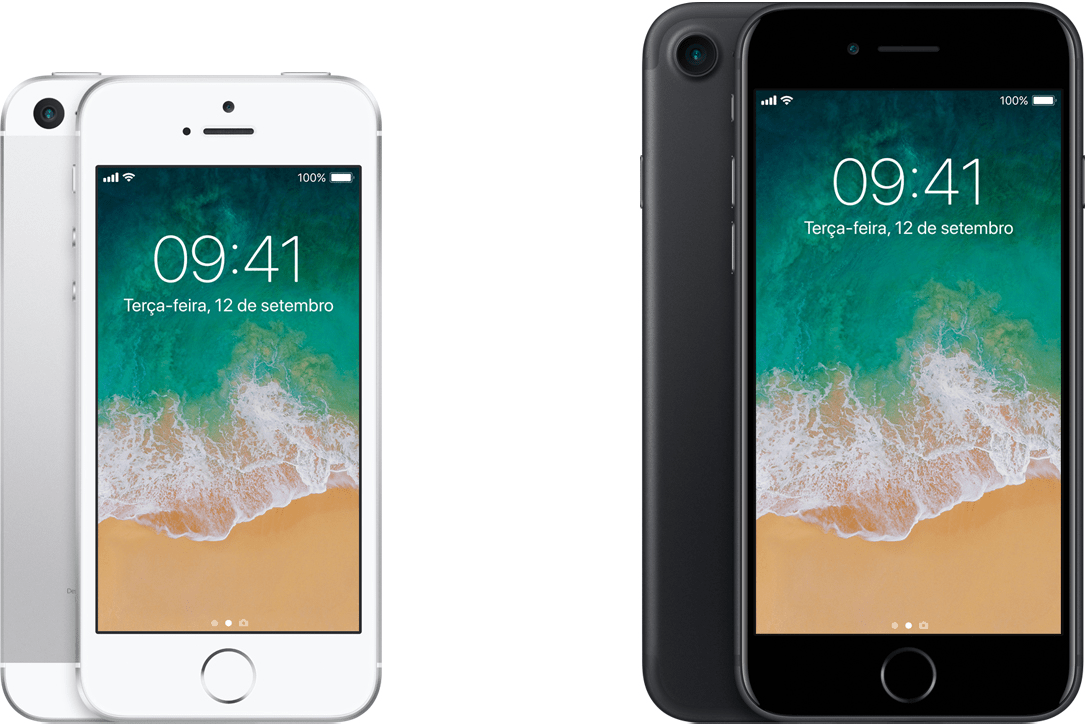 iPhones SE e 7 lado a lado