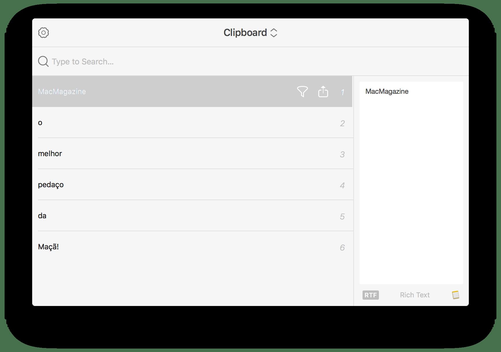 Janela expandida do Pastebot para macOS